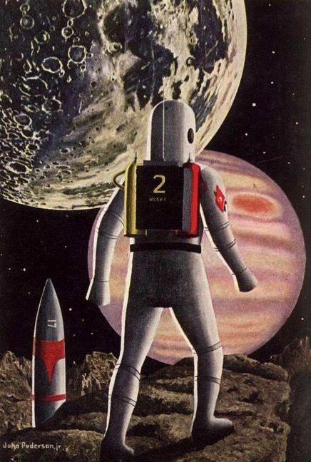 Magazine cover illustration by John Pederson. Galaxy. June 1958.