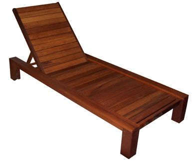 Outdoor Furniture.  A large armless Kwila sunlounge. Timber wheels situated within rear post legs.