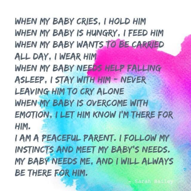 Peaceful parenting, gentle parenting, attachment parenting, meeting baby's needs