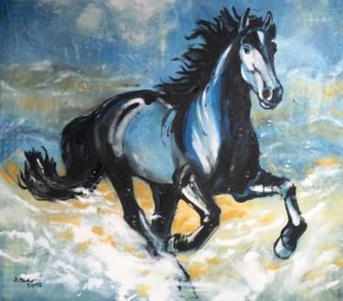 "Saatchi Art Artist Agata Padol; Painting, ""Horse gallop"" #art"