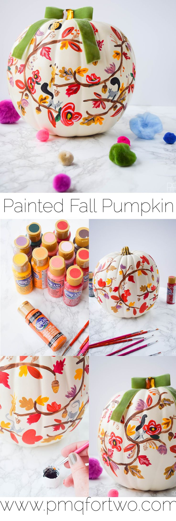 .~Painted Fall Pumpkin by PMQ for Two decoartprojects~.