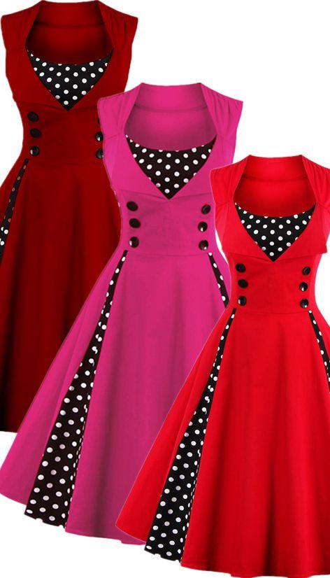 $20.10 Retro Button Embellished Polka Dot Dress