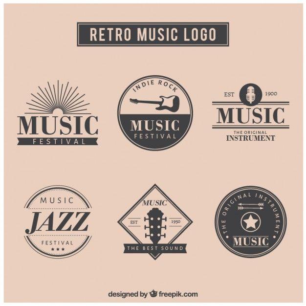 Retro Musik-Logo-Set Kostenlose Vektoren