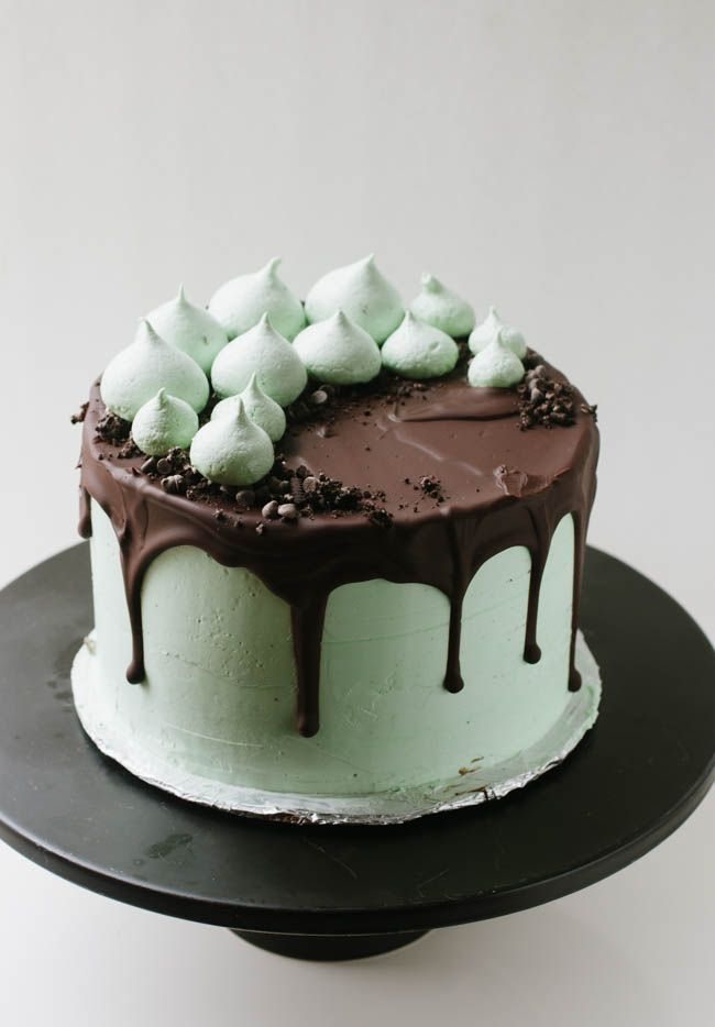 A recipe for chocolate cake with mint buttercream, oreos, and mini chocolate chips