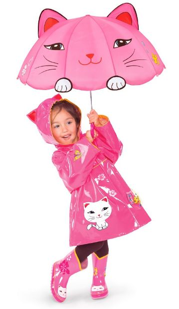 Lucky Cat Kidorable Rain Coat with matching boots. Raincoats for kids and rain gear for kids is a great gift idea.