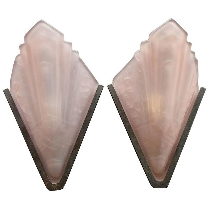 Pair Art Deco Wall Light Pink Frosted Decorative Glass | From a unique collection of antique and modern wall lights and sconces at https://www.1stdibs.com/furniture/lighting/sconces-wall-lights/