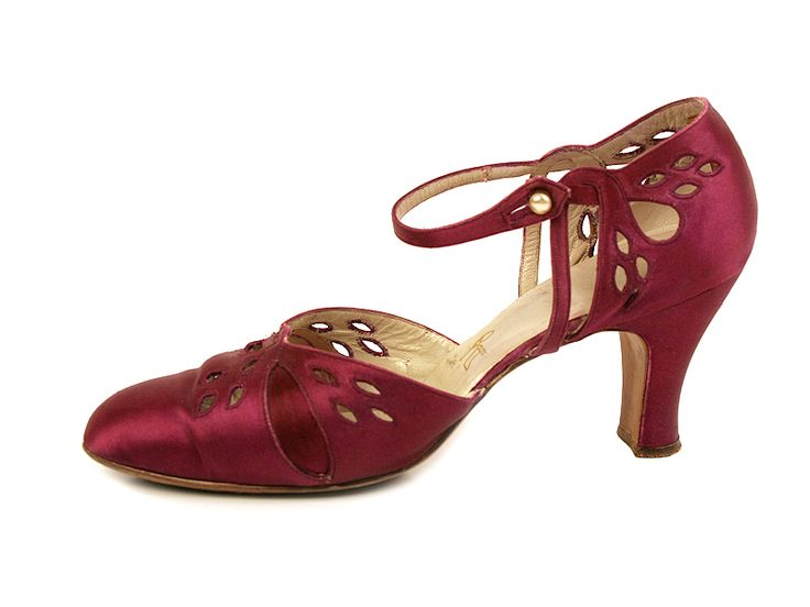 Satin Shoes with Straps, Decorated with Perforation on the Vamp and the Sides.  …