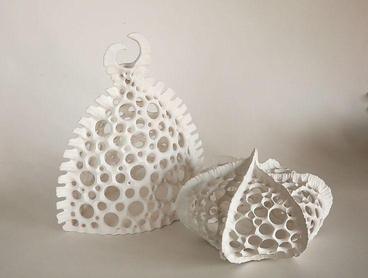 Skeleton Vases Handbuilt sculpture, porcelain finish. Plankton, Skeleton, organic form