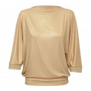 In.na - złota bluzka z krótkim rękawem