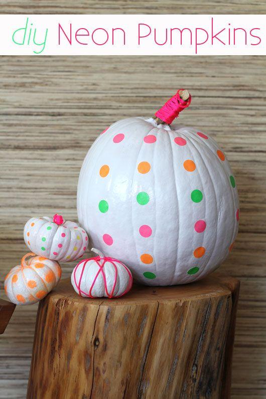 diy neon pumpkins