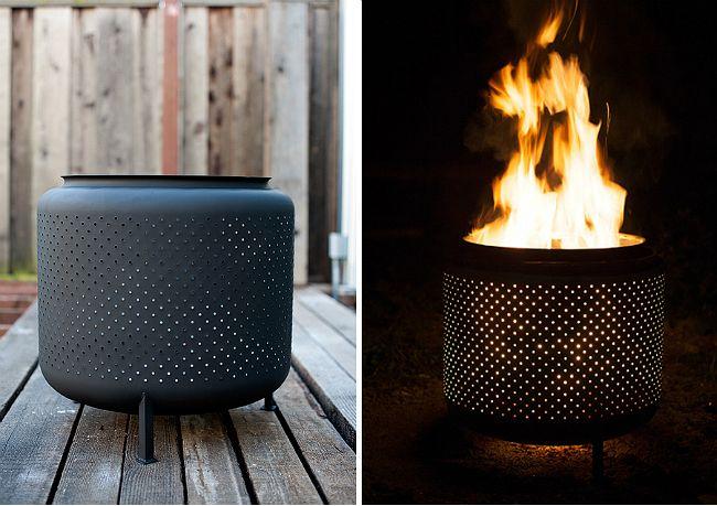 Turn an old washing machine drum into a backyard fire pit
