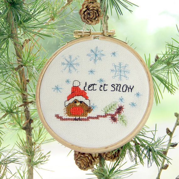 Cross stitch pattern Christmas Ornaments  set of 3 cute festive robin by BirdSaysTweet