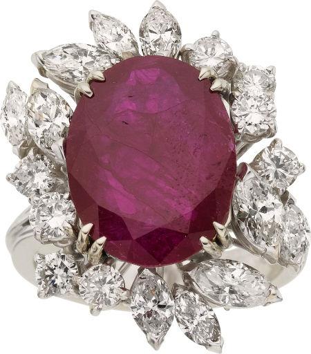 Ruby, Diamond, White Gold Ring. Beautiful