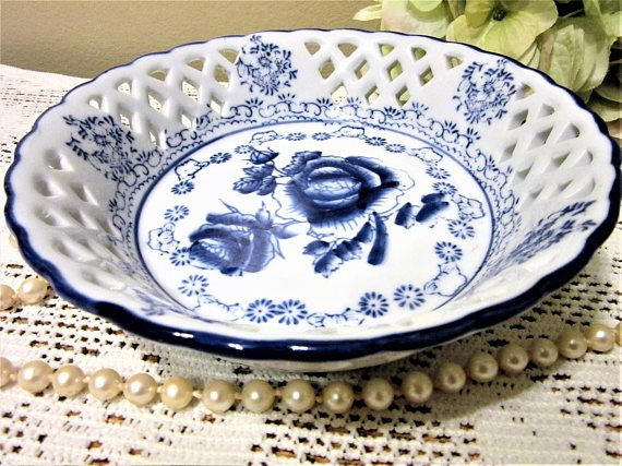Bowl White Blue Willow Floral Dish Porcelain Open Weave