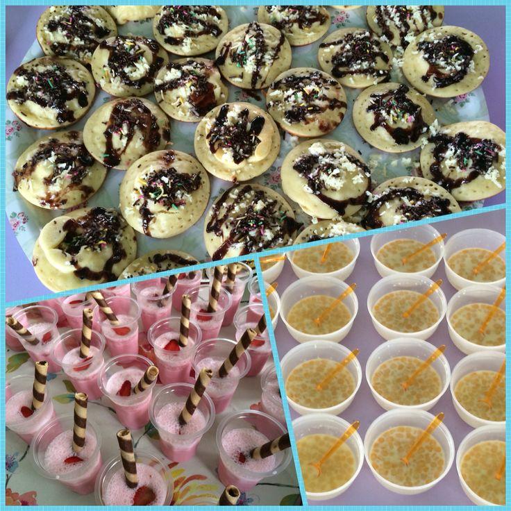 healthy snacks from fresh milk - fluffy pancake - strawberry milk shake - bubur jagung  #moms cooking competition