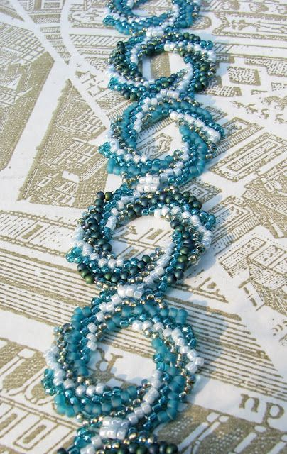 Piece by Lois Moon - pattern appeared  in Beadwork June/July 2010.  There are several color samples on this blog. #seed #bead