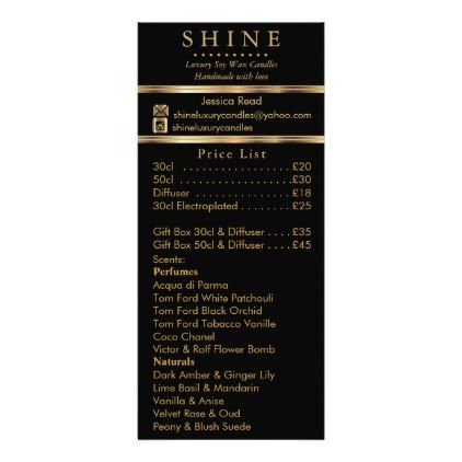 Business Product / Price List Rack Card - black gifts unique cool diy customize personalize