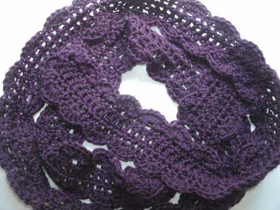 Some day I will learn to crochet!    Crochet Fashion Scarf dark purple by prettyponchos on Etsy, $16.75