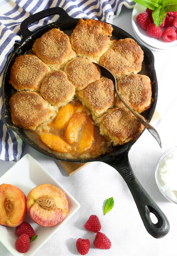 Skillet Peach Cobbler with Biscuit Crust | Sprinkle Bakes