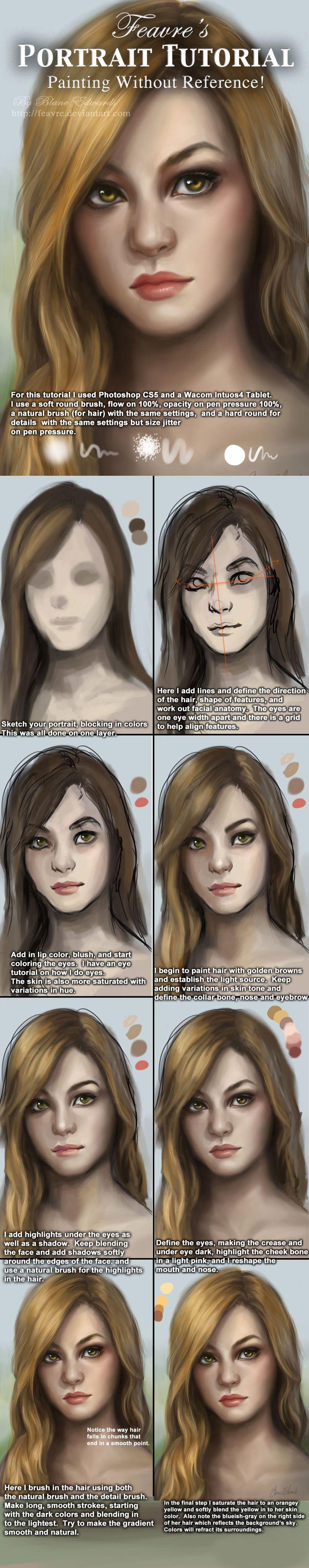 Portrait / Face painting Tutorial by feavre.deviantart.com on @deviantART