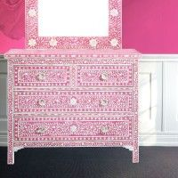 Flower mosaic mirror and chest of drawers from Mollyshome.com