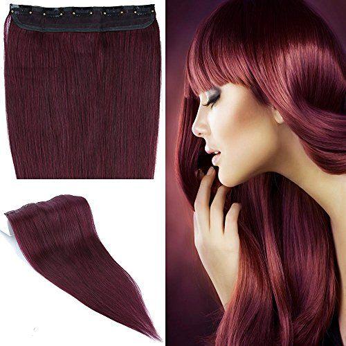 S-noilite® Extensions de cheveux humains à clips naturel #99J Vin rouge – 100% Remy hair – UNE PIECE / 5 CLIPS – 50cm-50g: Grade AAAAA -…