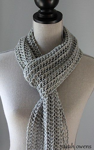 Free Knitting Pattern for Light and Breezy Scarf - Deborah Qalballah's My So Called Life Lacey Scarf is a one row repeat — can't get much easier than that! Pictured project by Sarah Owens.