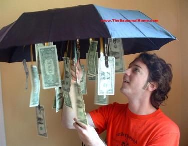 """creative way to gift cash """"for a rainy day"""" I made it for a shower gift...May all your days together be sunny, but just in case, here's a little something for a rainy day."""