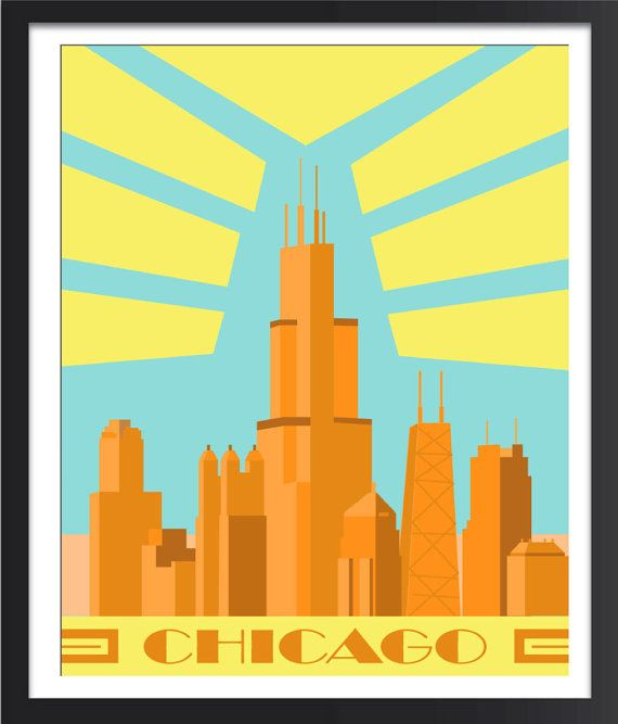 Chicago Art Deco Poster by FlyGraphics on Etsy, $18.00