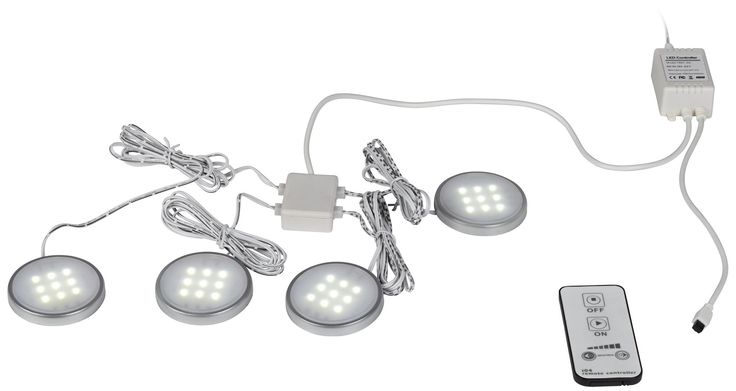 4-Light 3000k LED Puck Light Kit with Remote Control