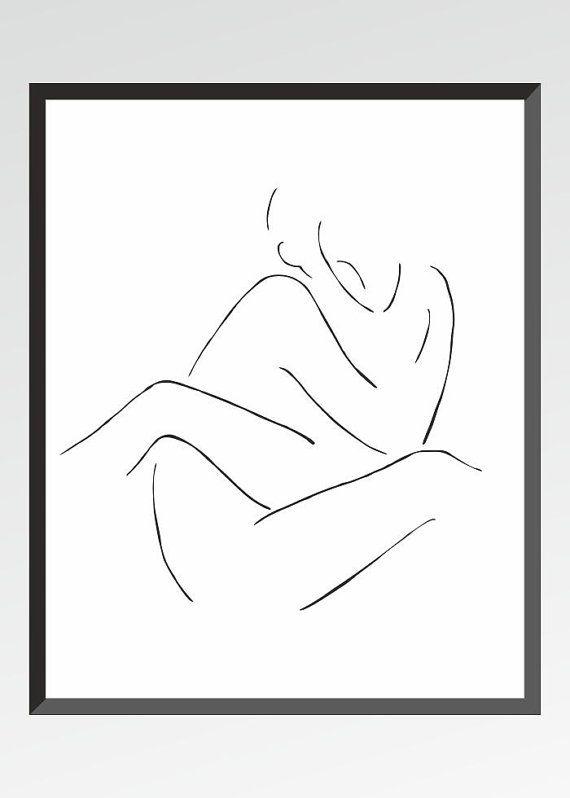10 x 8 of A4. Minimalistische tekening. Zwart-witte kunst print. Paar liefde. Geslacht illustratie.