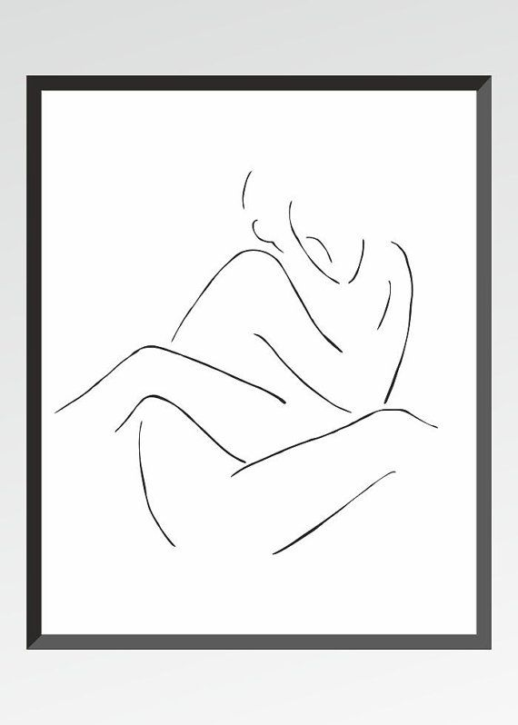 10x8 or A4. Minimalist drawing. Black and white art by siret