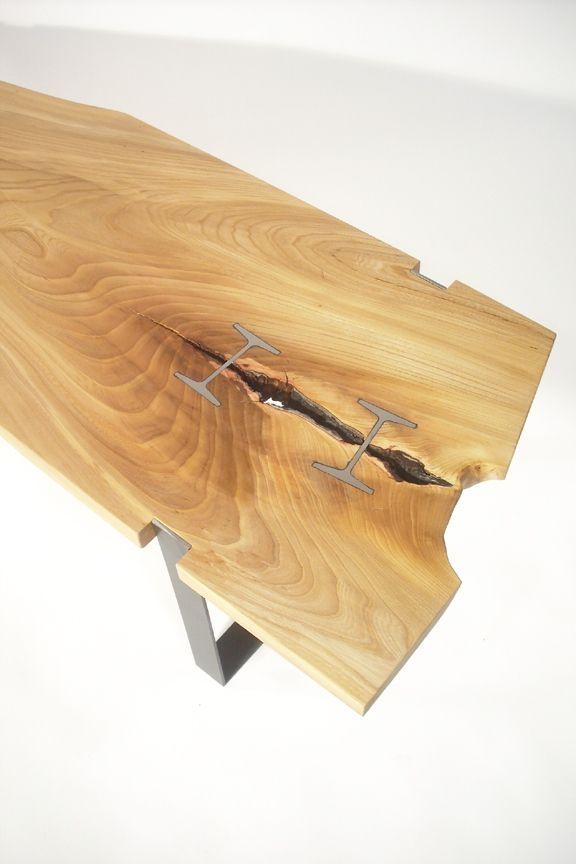 Elm Inset I-beam Table