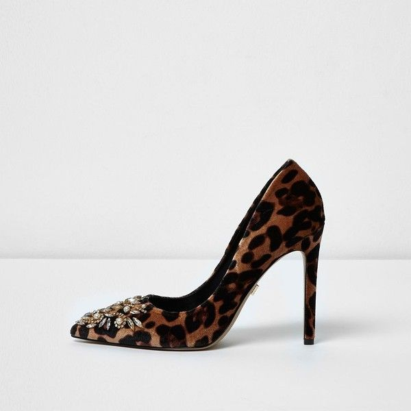 River Island Brown leopard print embellished pumps ($96) ❤ liked on Polyvore featuring shoes, pumps, brown, shoes / boots, women, brown pumps, leopard print shoes, brown slip on shoes, stiletto pumps and pointed toe high heel pumps