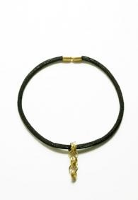 Knitted black copper necklace with 18K gold pendant