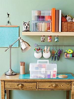 Desk organisation - ikea hack kitchen organisers #diy #craft via Good Housekeeping