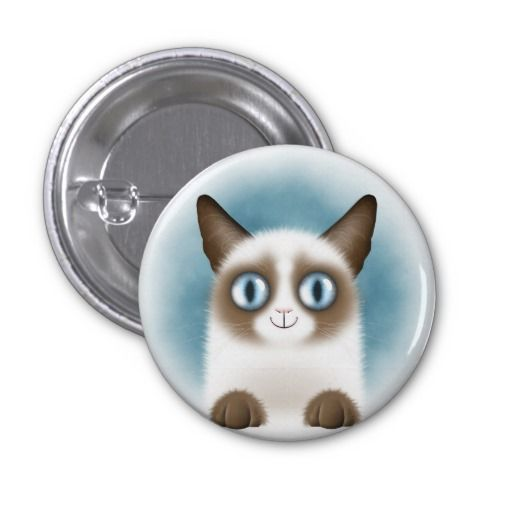 Curious Siamese Kitten Round Button