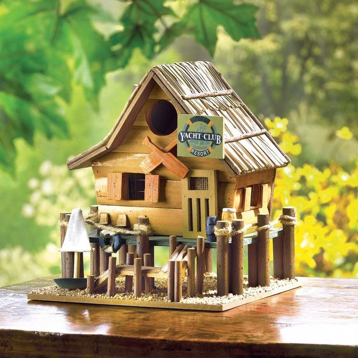 """Yacht Club Birdhouse. Decorative wooden """"Yacht Club"""" nautical themed birdhouse. This eclectic birdhouse will be perfect for the collector and makes great art for your lake house or cabin."""