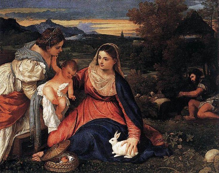 Madona a dítě se sv. Kateřinou a králíkem • Tizian • 1530 •