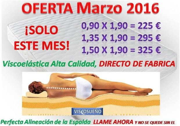 Oferta Colchones Madrid, Colchones Baratos Viscoelastica