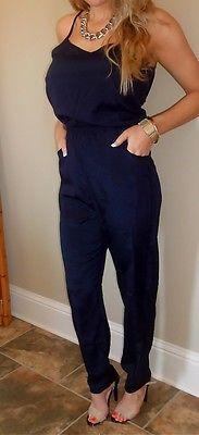 Navy Blue Jumpsuit Womens Bodysuit Palazzo Pant Long Romper Retro Vintage Size L