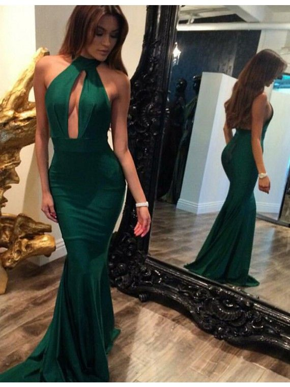 Mermaid Backless Hunter Halter Keyhole Sweep Train Prom Dress prom dresses 2017, sexy key hole evening dresses