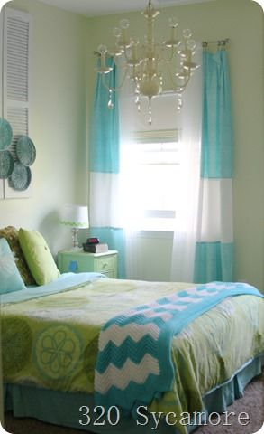 blue and green girl's room (Love the art above the bed!)