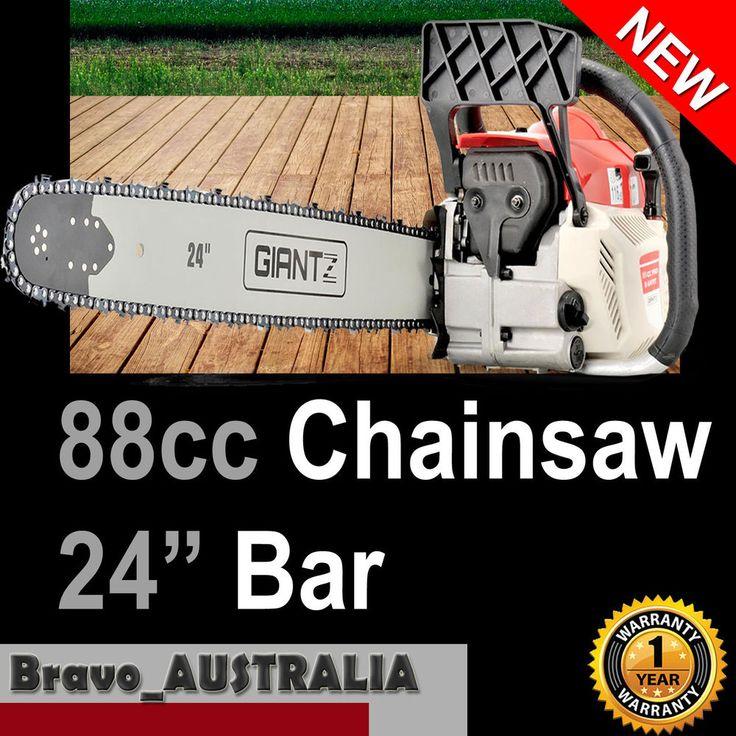 """Petrol Chainsaw 88cc 24"""" Bar Tree Log Pruning Pruner Firewood Garden Chain Saw"""