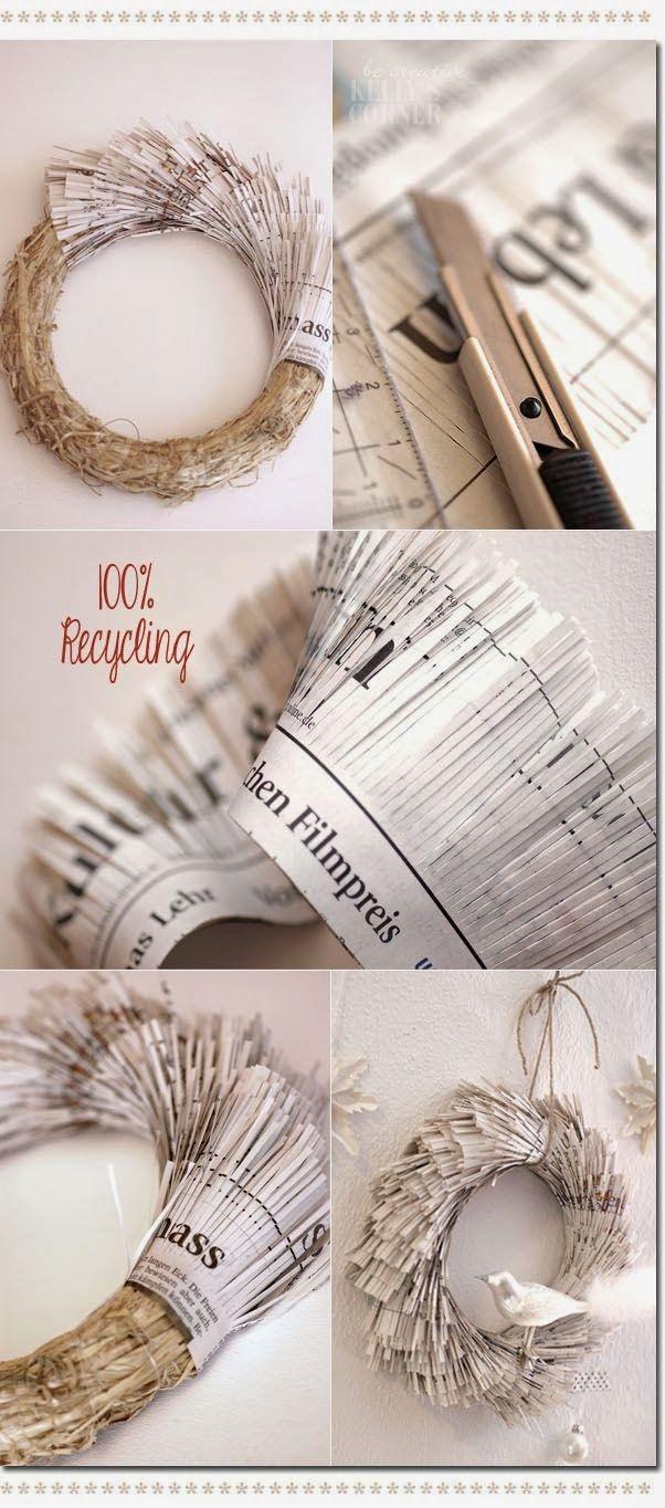 EL MUNDO DEL RECICLAJE: DIY corona de navidad con papel de periódico