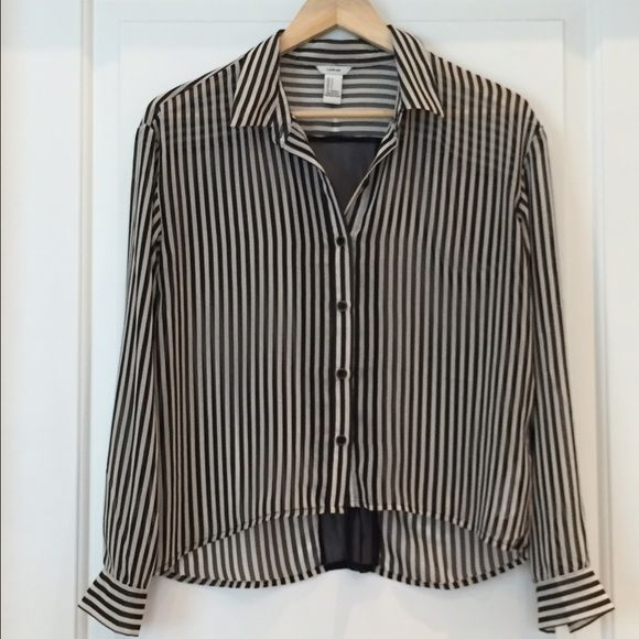 Vertical Striped Blouse Vertical Stripe Blouse with sheer panel in the back. Forever 21, size small.  Like new condition. Forever 21 Tops Blouses