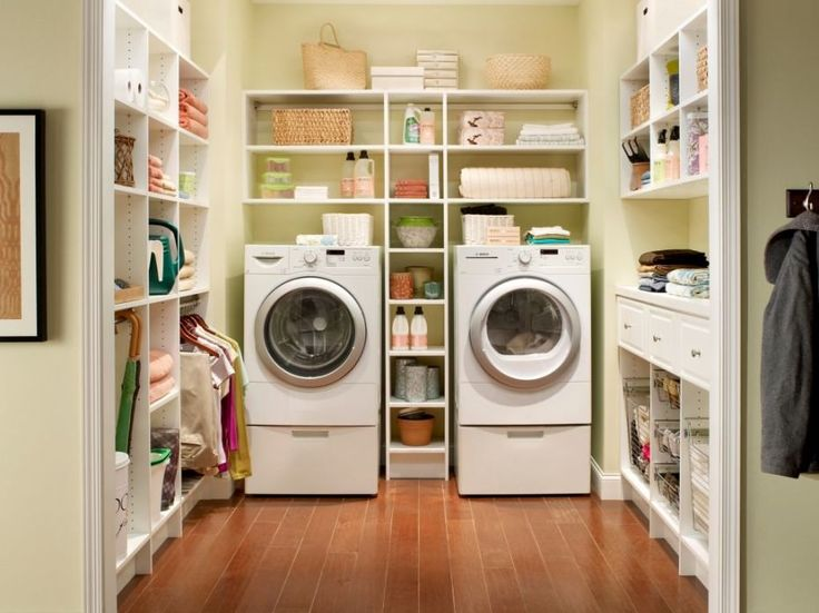 Modern Interior Small Laundry Room Decorating Ideas With Fascinating White Wooden Storage Along The Walls Including Washer And Dryer Machine As Well As Closet Solutions For Small Bedroom  Plus Storage Beds For Small Spaces , Creative Storage Furniture For Small Rooms Design Ideas: Furniture, Interior