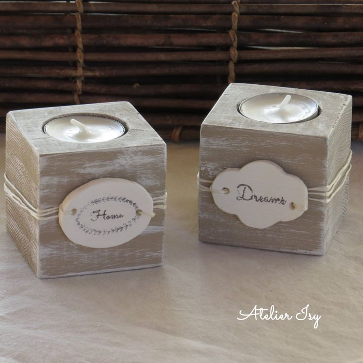 porta candele in legno di recupero shabby pallet wood candle holder