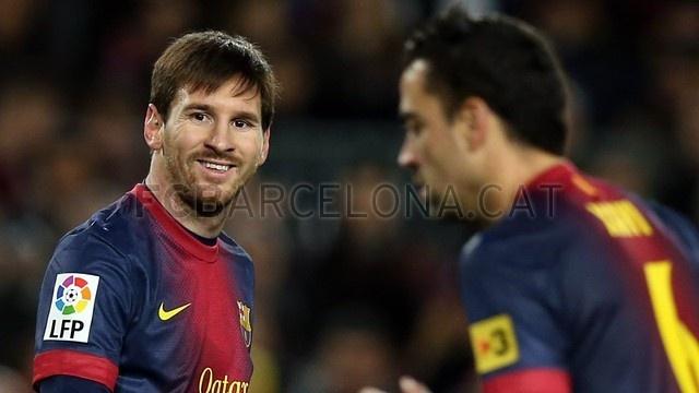 Leo Messi & Xavi Hernández, FC Barcelona. | FC Barcelona 5-1 Osasuna. 2013-01-27.
