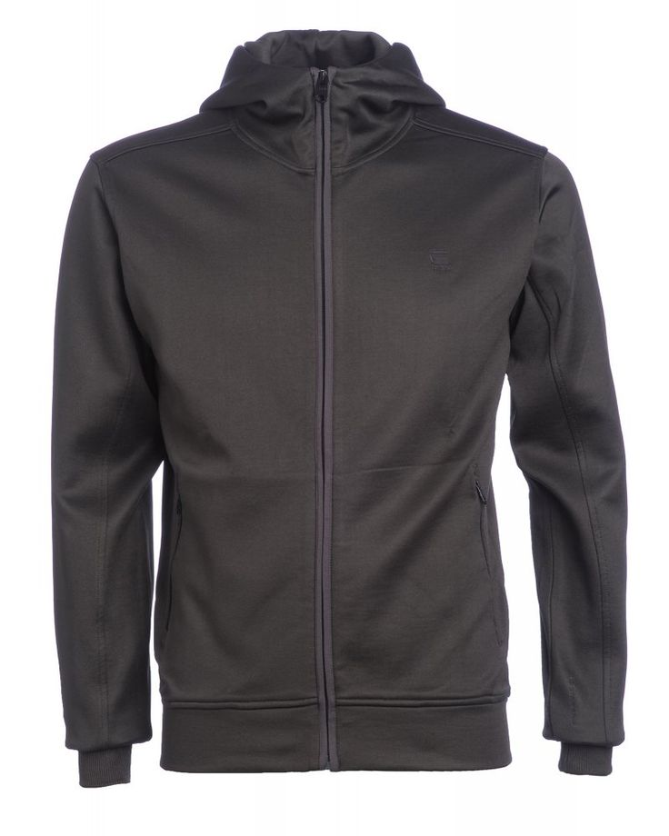G-Star Raven Grey Hooded Zip Through Sweatshirt